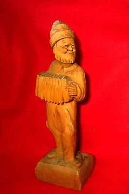 """OLD MAN PLAYING ACCORDION WOOD CARVING SIGNED by ARTIST FORTIN 12"""" QUEBEC,CANADA"""