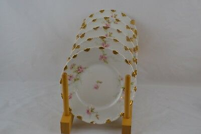 Theodore Haviland 141e Limoges Gold Rose Berry Bread Butter Plates x5