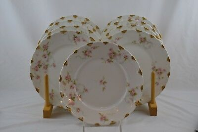 Theodore Haviland 141e Limoges Gold Rose Luncheon Plates x9