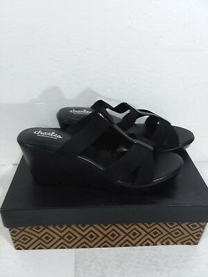 042f54681a3 CHARLES DAVID  ISOLA  Women s Black Leather Wedge Sandals Size 8.5 M ...