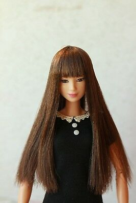 Brown Long wig for Barbie doll 4 inch