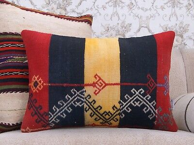 """Contemporary Old Kilim Pillow 16x24"""" Embroidered Lumbar Rug Cushion Free Shippin"""