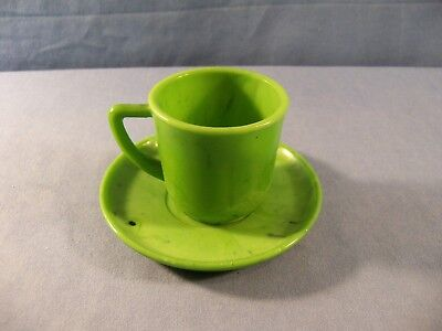 Akro Agate Green Slag Marbleized Child's Cup & Saucer Set