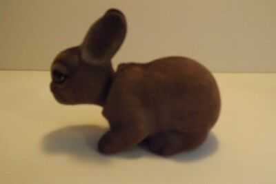 Vintage Norleans Flocked Fur Bobble Head Rabbit Glass Eye Nodder Figurine Japan