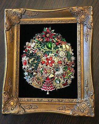 Vintage Jewelry Christmas Tree On Red Velvet Ready To Be Framed