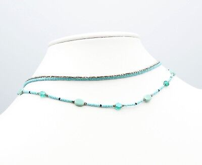 Vintage Glass Robins Egg Blue Seed Bead and Silver Tone Multi Strand Necklace