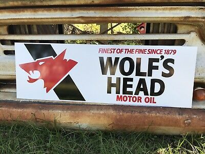 Antique Vintage Old Style Wolf's Head Motor Oil Sign
