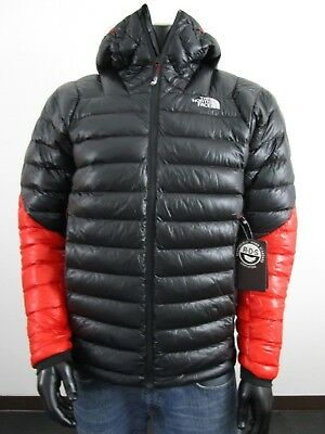 NWT Mens TNF The North Face Summit L3 Hoodie Hooded 800-Down Jacket Black / Red