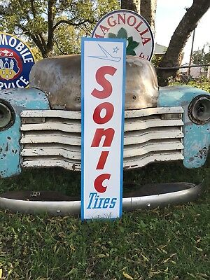 Antique Vintage Old Style Sonic Tires Gas Station Sign