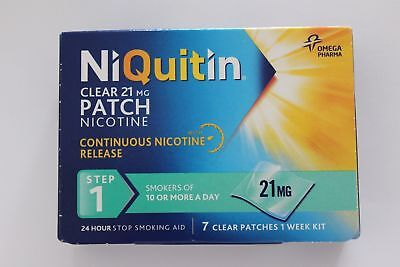 NiQuitin 21mg Clear 7 Patches Step 1 - Stop Smoking Aid Nicotine **BRAND NEW**