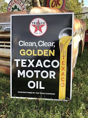 Antique Vintage Old Style Golden Texaco Gas Station Sign