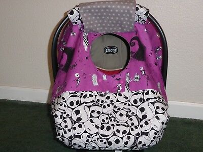 **NIGHTMARE BEFORE CHRISTMAS**Fitted w/peekaboo Handmade Car Seat Canopy-Cover