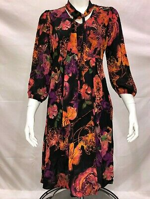 97ca9475b9af Styled by Joe Zee Floral Printed Dress with Neck Tie Detail Fuchsia Size 4  QVC