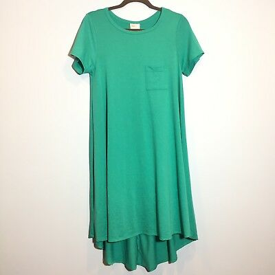 e8ee3458e2e Women s LuLaRoe Carly Solid Teal Green Short Sleeve T-shirt Dress Size Small