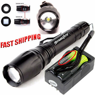 Professional T6LED Flashlight 90000LM Zoomable Torch+18650 Battery&Dual Charger