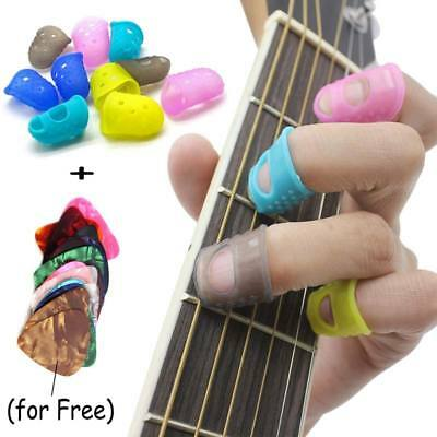 UK Guitar Fingertip Protectors Finger Guards Bass Ukulele & Guard Picks for gift