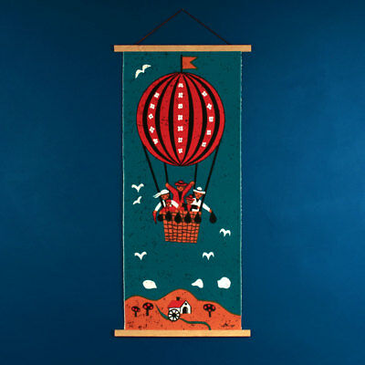 Vintage 1960s 1970s HUGE Retro Hot Air Balloon Teal Fabric Wall Hanging - Signed
