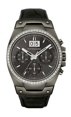 Wittnauer Men's Quartz Chronograph Crystal Accents Black 41mm Watch WN1012