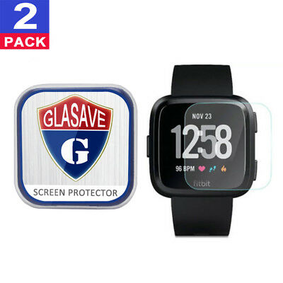 (2 Pack) GLASAVE Fitbit Versa Watch Tempered Glass Screen Protector Cleaar Film
