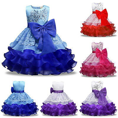 Kids Flower Girl Bow Princess Dress for Girls Party Wedding Bridesmaid Gown Prom