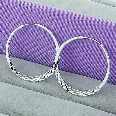 Womens 925 Sterling Silver Diamond Cut Large 50mm Round Vogue Hoop Earrings E279