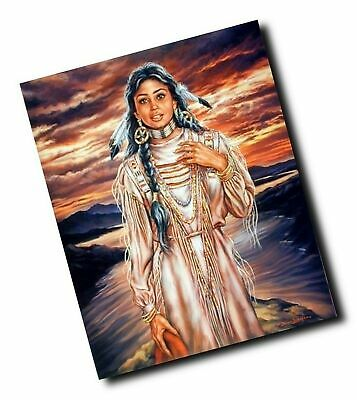 16x20 Native American Art Print Poster Indian Maiden and Wolf