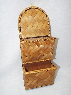 Vintage Wicker Rattan Bamboo Letter Mail Bill Holder Storage Wall Organizer Keys