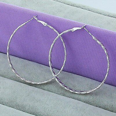Womens 925 Sterling Silver Elegant Large 50mm Round Vogue Hoop Earrings E280