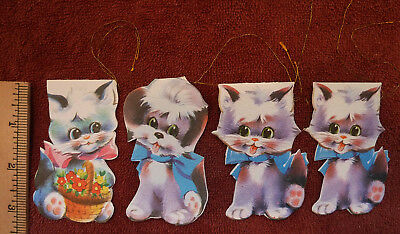 Vtg. Set 4 Paper Kitten Kitty Cat Dog Puppy Gift Tags or Ornaments Unused