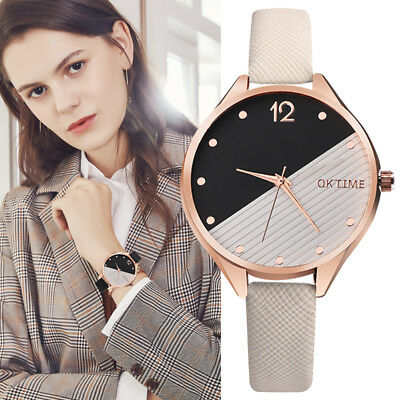 Womens Casual Patchwork Dial Faux Leather Band Analog Quartz Wrist Watch Reliabl