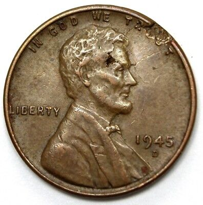 """1945-D, """"Mint Error""""?, LINCOLN CENTS - Obv. Hole in His Head,"""