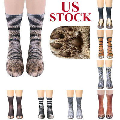 Xmas Unisex Women Men Adult Kids 3D Animal Print Sock Paw Crew Cotton Socks Gift