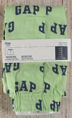 NIP Mens GAP Boxers 100% Cotton Green Lime Dream Logo - 244925