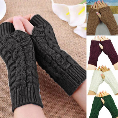 Women Winter Fingerless Gloves Wrist Arm Hand Warmer Knitted Crochet Mittens US