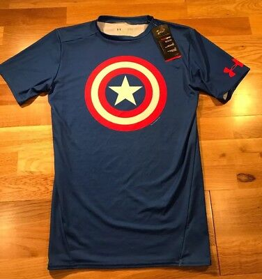 New Under Armour Marvel Captain America Compre Heat Gear Men's Shirt Size L