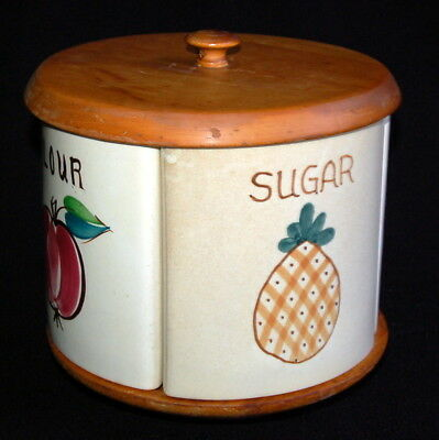 Vintage PURINTON / ESMOND Canister Unit ~ APPLE Pattern w Grapes USA ~ Rotating