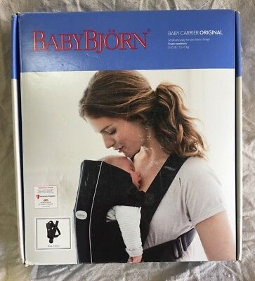 f3e047f9e96 BabyBjorn Original Nursing Infant Baby Carrier City Black Cotton 8-25 lbs  023056