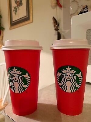2New Starbucks 2018 Red Reusable 16oz Traveler Drinking Cup with drink discount