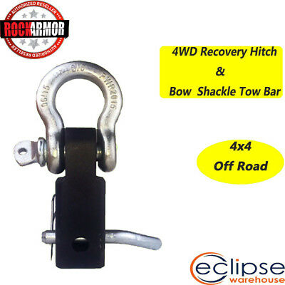 Recovery Hitch Receiver 5 Tonne Alloy with Bow Shackle Tow Bar Off Road 4WD