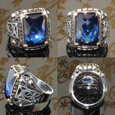 Mens Classic Vintage Blue Sapphire Silver Stainless Steel Rings Jewelry SZ 6-10