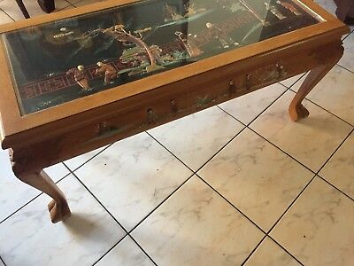 antique hard Wood Chinese Coffee Table Inlay Jade Stone