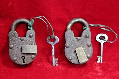 2 Pc. Old Antique Vintage Rare Iron Brass Lock and Key Collectible BC-91