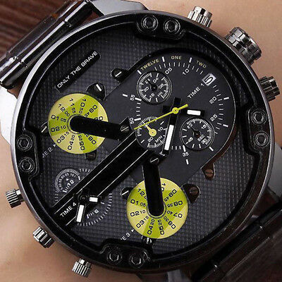 Luxury Men's Military Leather Date Quartz Analog Army Casual Dress Wrist Watches