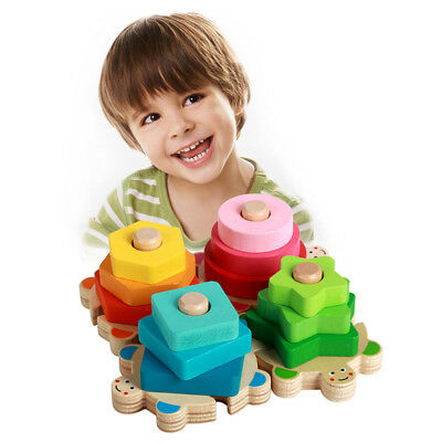 Child Kids Baby Stacker Block Wooden Educational Geometry Matching Building Toy