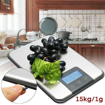 15KG 1g Digital Kitchen Scale Balance Slim Stainless Steel Electronic Scales Pro