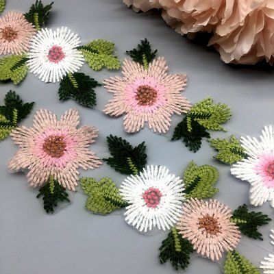 1 Yard Flower Leaves Lace Trim Ribbon Wedding Applique Embroidered Sewing Craft