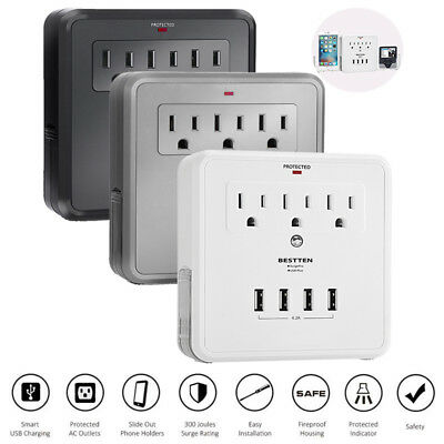 3 Outlet w/ 4 USB Ports Wall Mount Surge Protector Adapter Charger Phone Holder