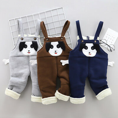 Winter Warm Boys Overalls Dungarees Kids Baby Toddler Boy Thicken Trousers Pants