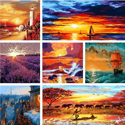 Natural Sunset DIY Paint By Number Kit Acrylic Oil Painting Art Home Decor LOVE