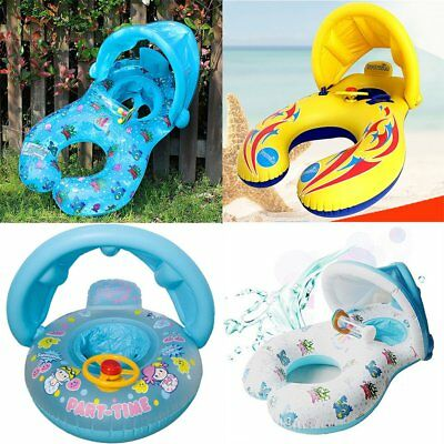 Inflatable Baby Kid Toddler Blue Yellow Sunshade Float Seat Ring Swimming Pool